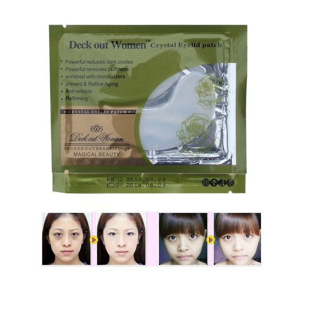 20pcs Deck Out Women Crystal Eyelid Patch Anti-Wrinkle Crystal Collagen Eye Mask Remove Black Eye Post free shipping(China)