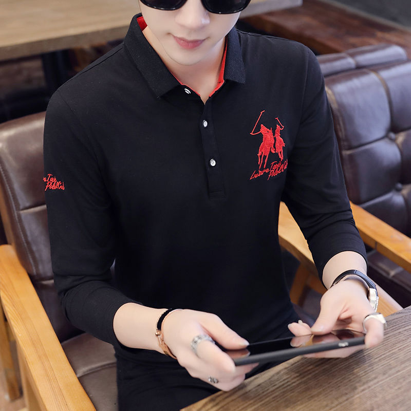 Polo   Shirt Men 2019 Autumn Winter Long Sleeve Mens   Polo   Shirts Casual Turn Down Collar Embroidery Fashion Top Golf Brand Clothes