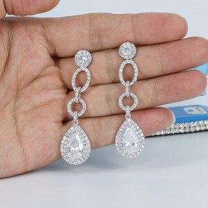 Image 5 - Voll CZ Zirkonia Tropfen Baumeln Braut Hochzeit Loops Ohrring für Frauen Schmuck CE10249