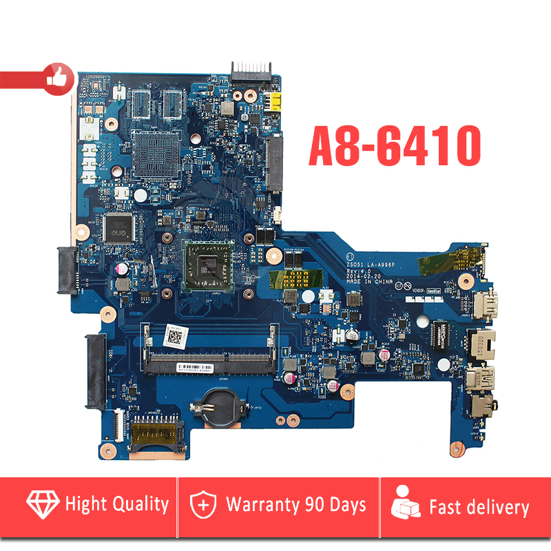 YTAI A8-6410 CPU for HP 15-G laptop Motherboard with A8-6410 processor ZSO51 LA-A996P REV:4.0 DDR3 Mainboard fully tested anmairon shallow leisure striped sandals women flats shoes new big size34 43 pu free shipping fashion hot sale platform sandals