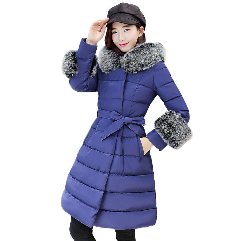 Long Women Winter Jacket 2017 New Arrival Hood Fur Jacket Down Cotton Padded Coat Thicken Warm Woman Down Jacket With Fur Collar winter jacket female parkas hooded fur collar long down cotton jacket thicken warm cotton padded women coat plus size 3xl k450