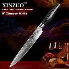 """Xinzuo 8 """"zoll cleaver messer damaskus küchenmesser profi-koch messer pakkaholz griff hohe qualität sharp kostenloser versand"""