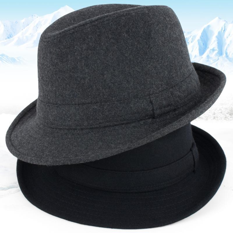 2022 New Arrival Autumn and Winter Elderly Men Wool Hats, Male Thick Warm Felt Trilby Hat Outdoor Jazz Hat