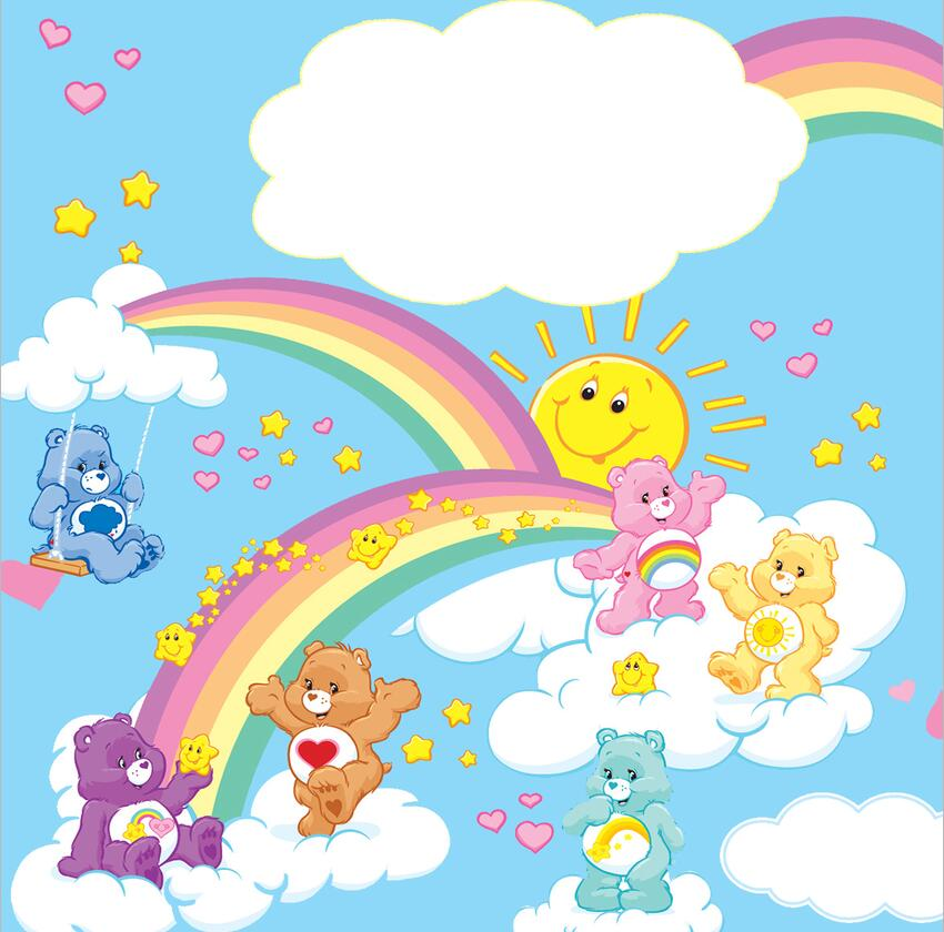 Photography Backdrops Custom Rainbow sky white cloud Care Bears Love bear photo backdrop cloth Computer printed wall Background