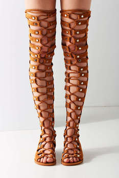 Women Summer over the knee boots cross-tied flat heels casual women shoes slingbacks cutouts fashion thigh high flat boots brown