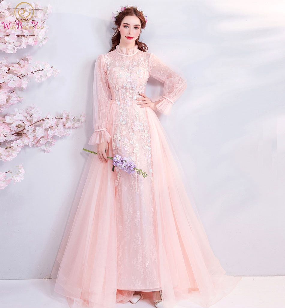 Walk Beside You Pink Prom Dresses Long Sleeves High Neck Lace Beaded A-line Sweep Train Evening Gowns Stock 2019 Gala Jurken
