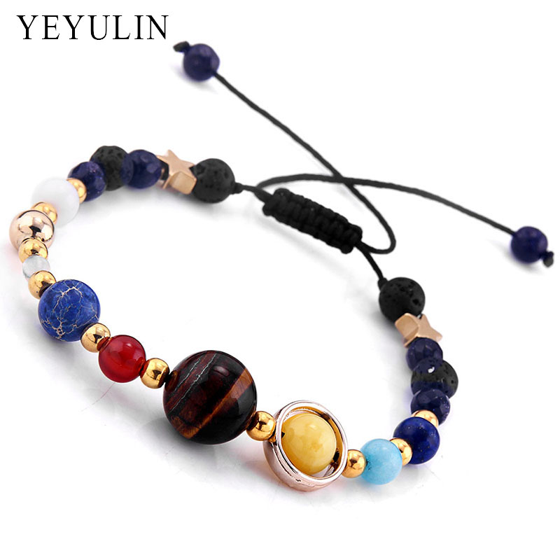 Universe Galaxy the Eight Planets In The Solar System Guardian Star Lava Reiki Stone Beads Adjustable Bracelet & Bangle Jewelry ...