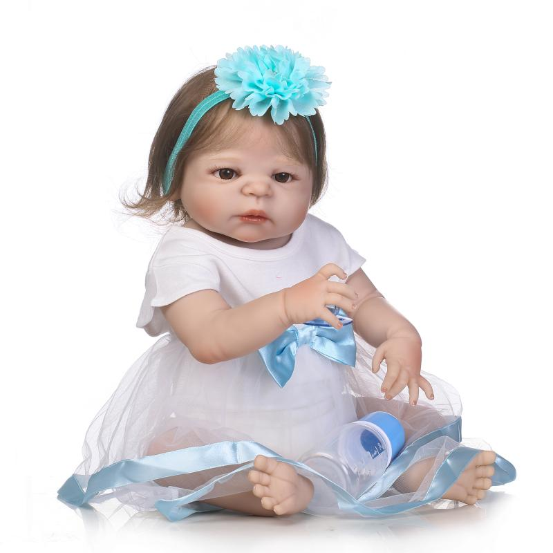 22 bebe girl reborn dolls full body silicone reborn baby dolls rooted smooth hair magnetic pacifier bottle white dress dolls