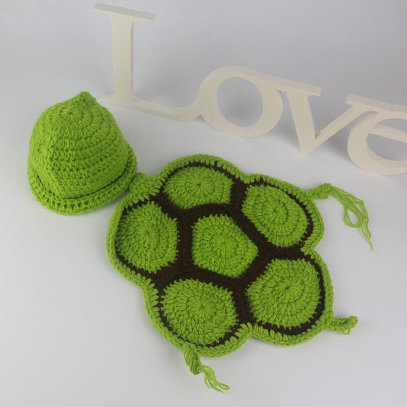 New Cute Turtle Photography Toddler Boys Girls Baby Beanie Knit Crochet Handmade Newborn Costume Photo Props