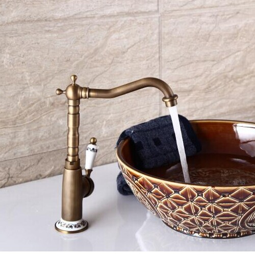 Bathroom Faucet: Retro Bathroom Faucet Basin Copper Antique Taps Point Deck  Mounted Vintage Sink Mixer
