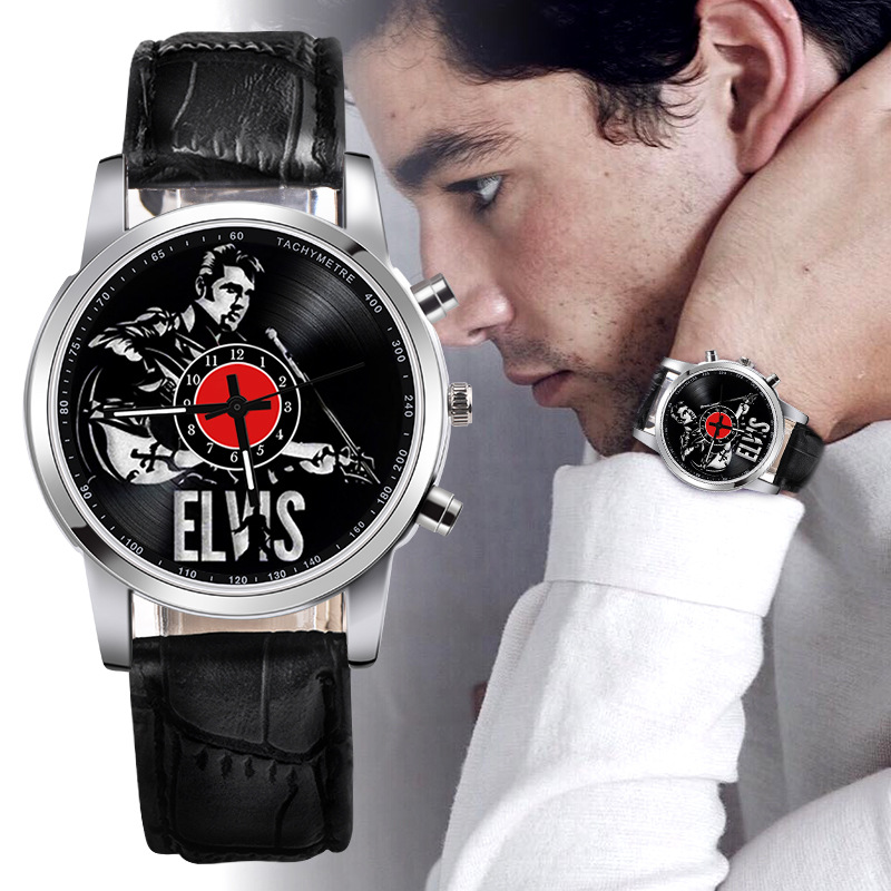 Watch Men Leather Top Luxury Elvis Presley Watches Rock Whisky Casual Vinyl Record Unisex Quartz Analog Wrist Watch Dropshipping