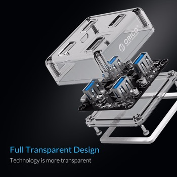ORICO Transparent USB HUB 4 Ports USB3.0 Adapter Splitter Support External Micro USB Power Supply for Desktop Laptop Accessories 1