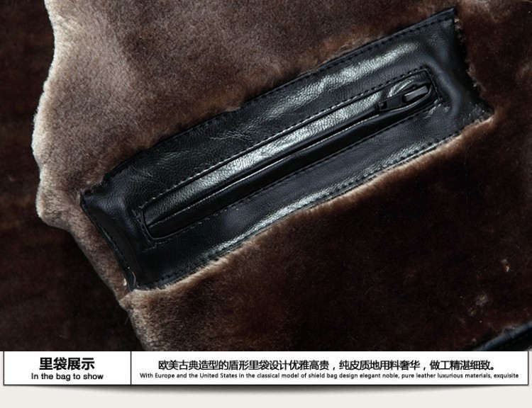 AILOOGE 2017 Brand Mens Fur Coat Shearling Genuine Leather Raccoon Fur Sheep Skin American Raccoon Fur Mens Business Coat Warm