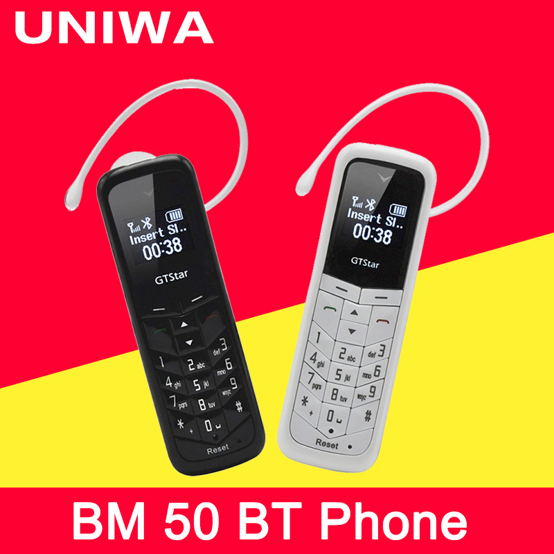 Unlocked Mini Cellphone UNIWA L8STAR BM50 GSM Phone Wireless Bluetooth Earphone Mobile Phone Stereo  Super Thin GSM Small Phone(China)