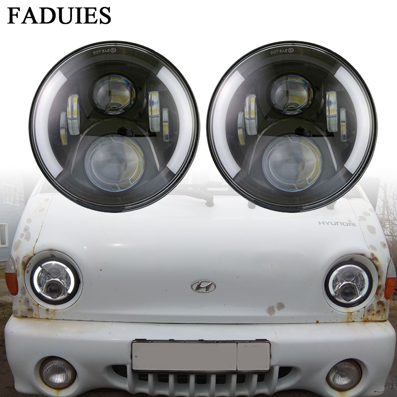 FADUIES 2PSC 7 LED Headlight With Halo Angel Eyes For Lada 4x4 urban Niva Jeep JK