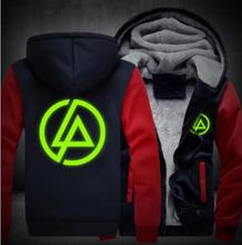 Winter brand Coats Linkin Park hoodie Anime Luminous Hooded Thick Zipper cardigan Sweatshirts Costume Unisex plush Sportswear