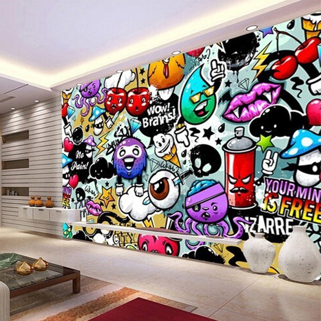modern creative art graffiti mural wallpaper for children. Black Bedroom Furniture Sets. Home Design Ideas