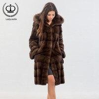 Новинка 2018, длинное пальто из натурального меха норки с капюшоном, Женское пальто, зимняя куртка из натурального меха норки, пальто из натур