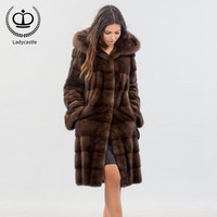 2018 New Long Real Mink Fur Coat With Hood Women Overcoat Winter Real Fur Jacket Genuine Mink Coat Fur Natural Luxury MKW 141