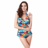 Two Pieces Sexy High Waisted Bikinis M L XL Flower Print Strappy Girl Juniors Tankini Swimming