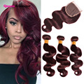 99J Red Lace Closure With Bundles 7A Mink Brazilian Body Wave With Closure 3 Bundles Brazilian Virgin Hair With Closure Deals