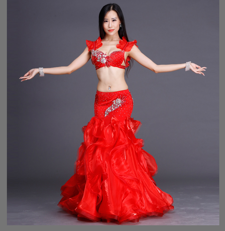 NEW Belly Dance Suits! Women Performance Show Belly Dance Set Senior Stones Bra Top+skirt 2pcs Belly Dance Competition Suits