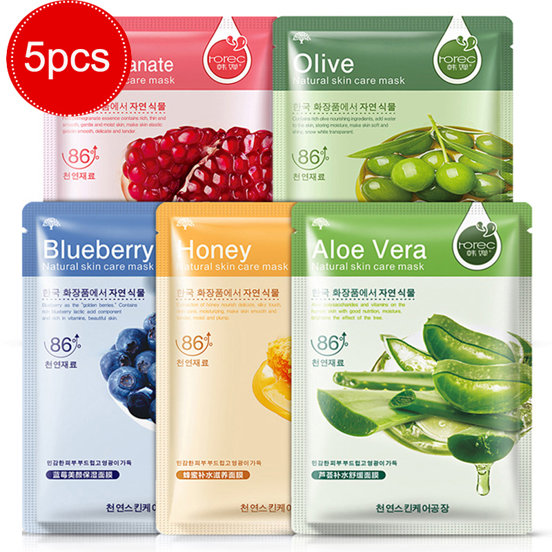 5Pcs/set Face Mask Sheet Masks Aloe Honey Olives Pomegranate Facial Moisturizing Beauty Masks Skin Care Plant Facial Mask