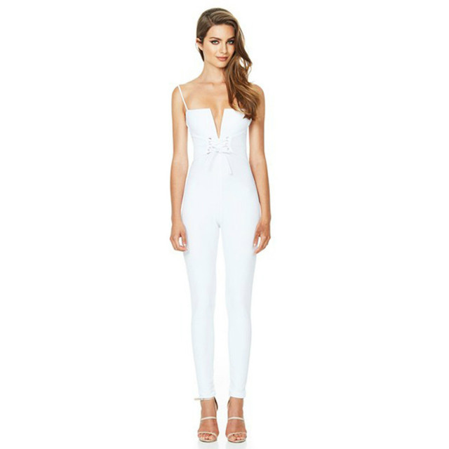 cc84824d25ee MUXU white suspender backless jumpsuit one piece sexy bodysuit summer  bodycon body suits for women combinaison femme rompers. Price  US ...