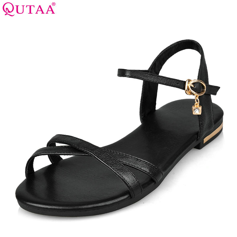 QUTAA 2018 Women Sandals Casual Cow Leather+pu Fashion Women Shoes Platform Buckle Summer Leisure Women Sandals Size 34-43 venchale 2018 summer new fashion sandals wedges platform women shoes height heel 10 cm buckle strap casual cow leather sandals