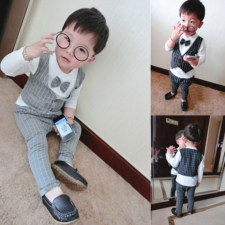 Free shipping spring autumn male child set, baby bow tie blazer twinset long-sleeve T-shirt + trousers set