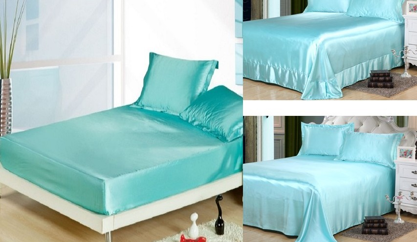 Aqua Bed Linen Part - 21: 4PCS Aqua Blue Silk Sheets Bedding Set Satin Flat Fitted Bed Sheet  Bedspread Linen California King Queen Size Full Twin 20 Color-in Bedding  Sets From Home ...
