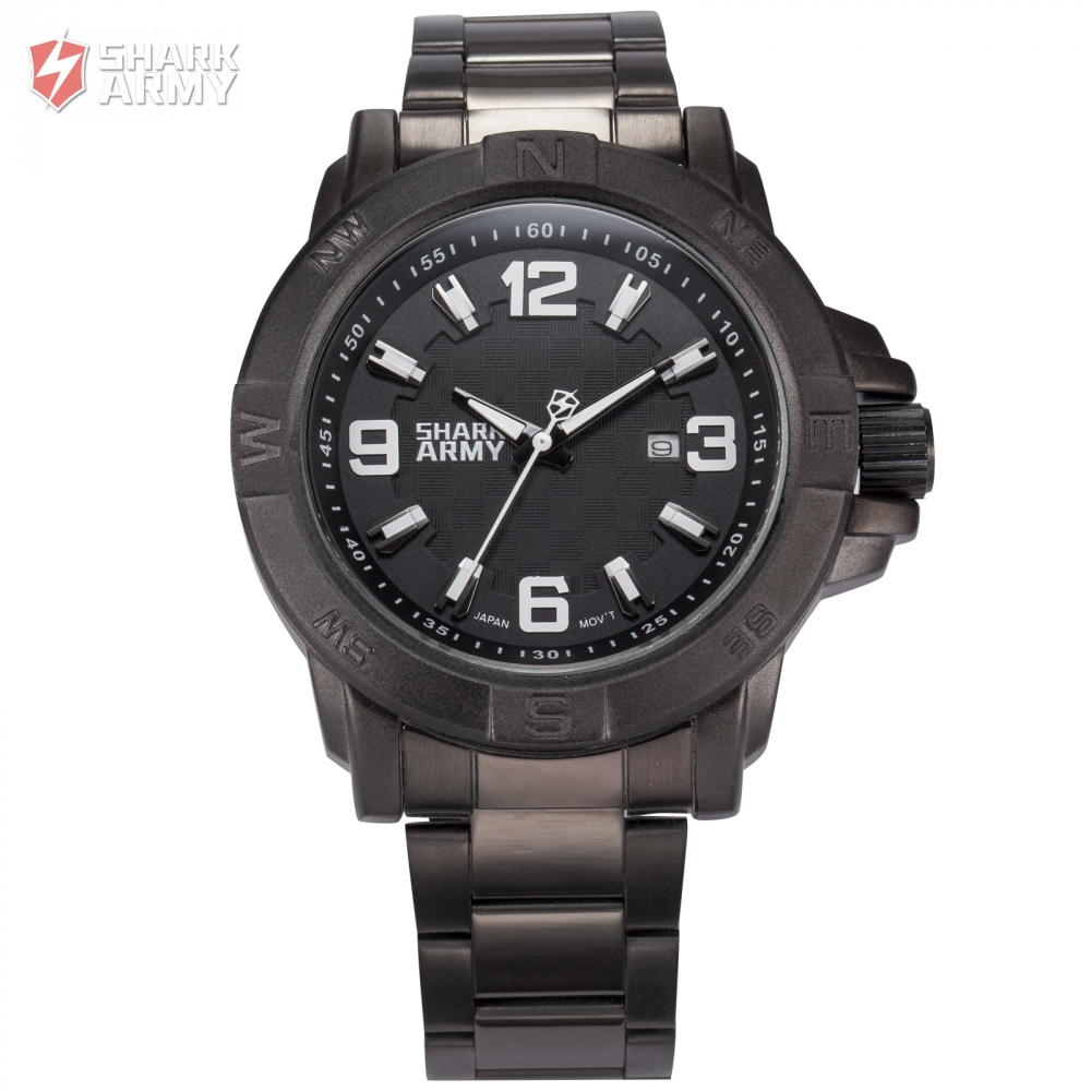 Shark Army Auto Date Calendar Display Black Stainless Steel Band White Analog Quartz Military Male Clock Men Sports Watch/SAW150 original new laptop led lcd screen panel touch display matrix for hp 813961 001 15 6 inch hd b156xtk01 v 0 b156xtk01 0 1366 768