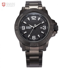Shark Army Auto Date Calendar Display Black Stainless Steel Band White Analog Quartz Military Male Clock Men Sports Watch/SAW150