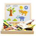 Multifunction Animal Wooden Magnetic Puzzle Writing Drawing Toys Board Blackboard Easel Learning & Education Toy