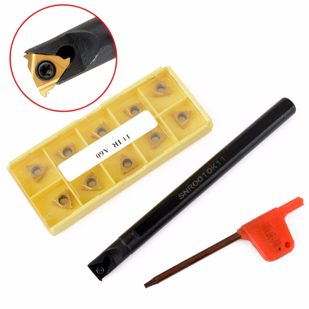 1 stück SNR0010K11 Drehmaschine Bohrstange Drehen Werkzeughalter + 10 stücke 11IR A60 Wendeschneidplatten Klingen Mit Schlüssel