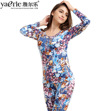 Women's Long Johns O-neck Long Sleeve Cotton Floral Print Winter Keep Warm Cotton Elastic Bottoming Thermal Underwear Tmall