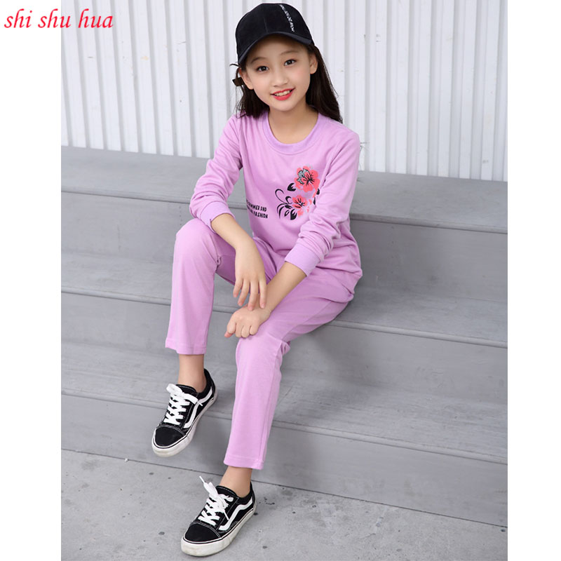 High-quality childrens clothing sets long-sleeved T-shirt + pants fashion cartoon printing sports suits 3-10-year-old girls