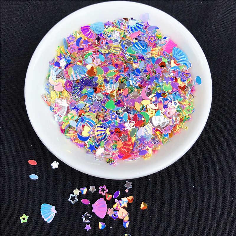 10 г/упак. микс Блестящий блесток Звезда бусины в виде сердца Форма ПВХ пайетки с блестками Стразы для маникюра почвы, ремесло, свадебные конфетти