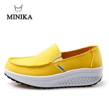 Minika New Summer Women's Shoes Yellow Blue Sport Shoes Walking Flats Height Increasing Women Platform Canvas Swing Wedges Shoe цена 2017