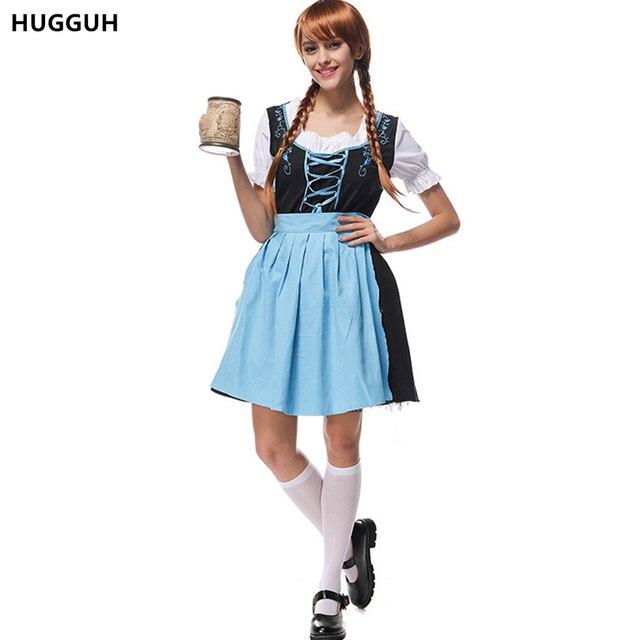 HUGGUH Marque de Nouvelle Femme Vêtements Oktoberfest Halloween Costume Bar  Serveuse Bière Domestique Cosplay Costume Femmes 321fc92eb9f