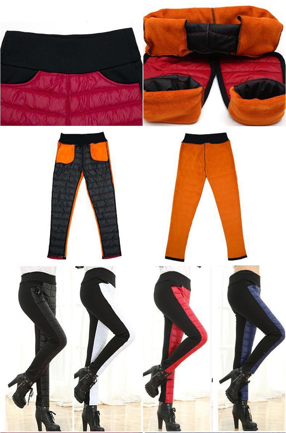Thicken down Cotton Winter Warm Pants Women Elastic Waist Ladies Skinny Trousers Women's Casual Leggings Outwear Female Pants 15