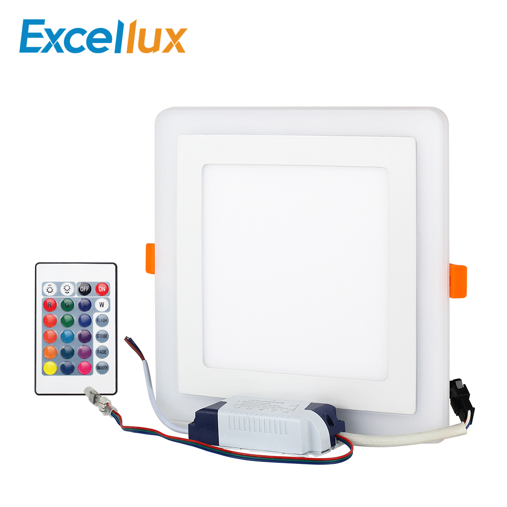1Set LED Panel Light RGB Panel +24 Key Square Concealed Dual Color 3W 6W 12W 18W Ultra Thin RGB Lamp Celing Led Light AC85-265V led panel 300mm 300mm 18w edge lit super bright ultra thin glare free