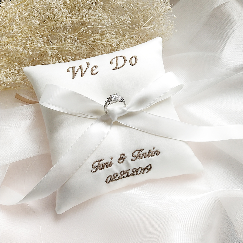 Decoration Wedding Word Date Bridal Pillows Customized Name Valentine Festive Cushion Pillow Embroidered Ring Day Ring Supplies
