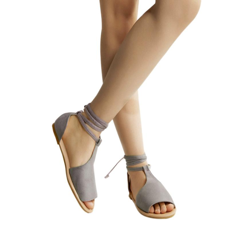 Women 2018 Fashion Summer Shoes Round Toe Breathable Lace-Up Beach Sandals Rome Casual Flat Shoes Womens Sandles Sandalia