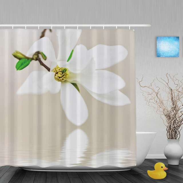 Nature Scenery Bathroom Shower Cutains Blooming White Lily Flowers Decor Curtain Waterproof Polyester Fabric With