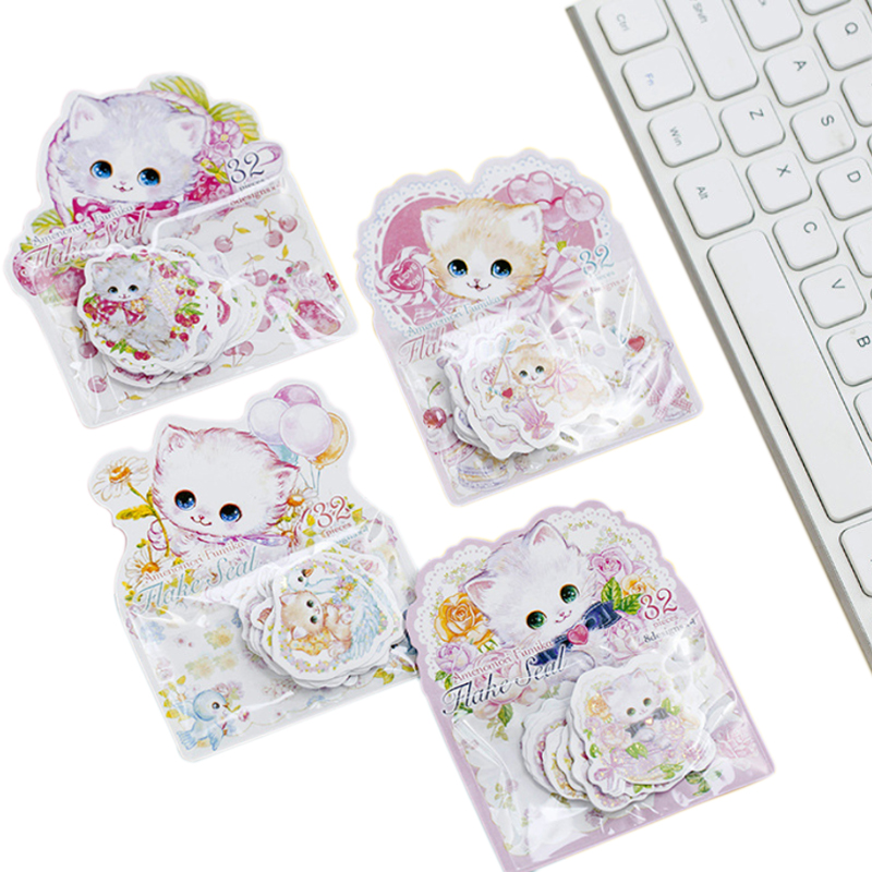 32pcs/pack Kawaii Flower Cat Bronzing Sticker Lable Stickers Scrapbooking Self-adhesive Stickers DIY Decoration Diary Stickers