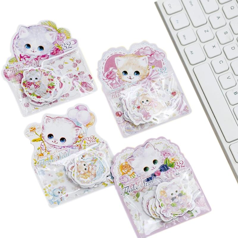 32pcs/pack Kawaii Flower cat bronzing sticker Lable Stickers Scrapbooking Self-adhesive DIY Decoration Diary