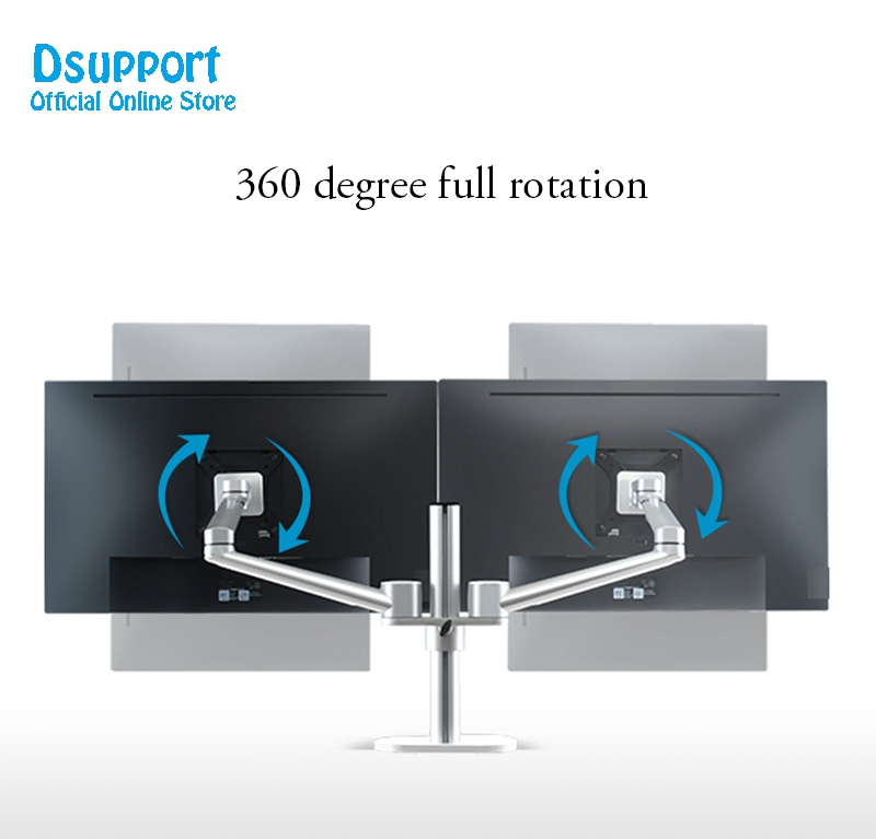 2018 New Aluminum Alloy LCD LED dual Monitor Holder Arm Bracket 360 Degree Rotatable Computer Monitor holder Stand OL 2 in TV Mount from Consumer Electronics