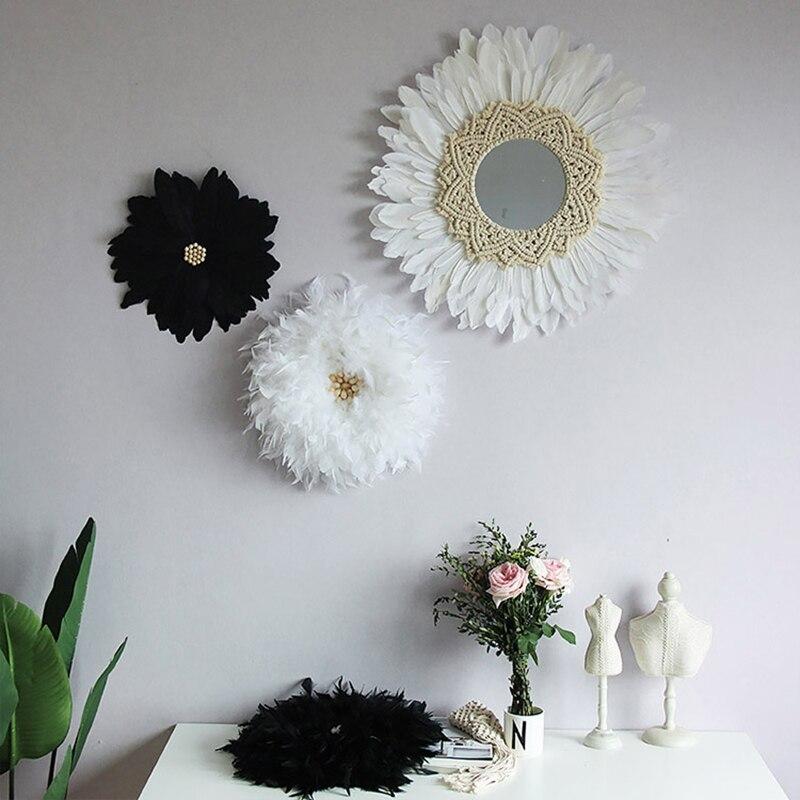 Nordic ins arazzo fatto a mano della piuma della decorazione dello specchio originale di disegno della decorazione di attaccatura di parete della decorazione della casa della parete specchi