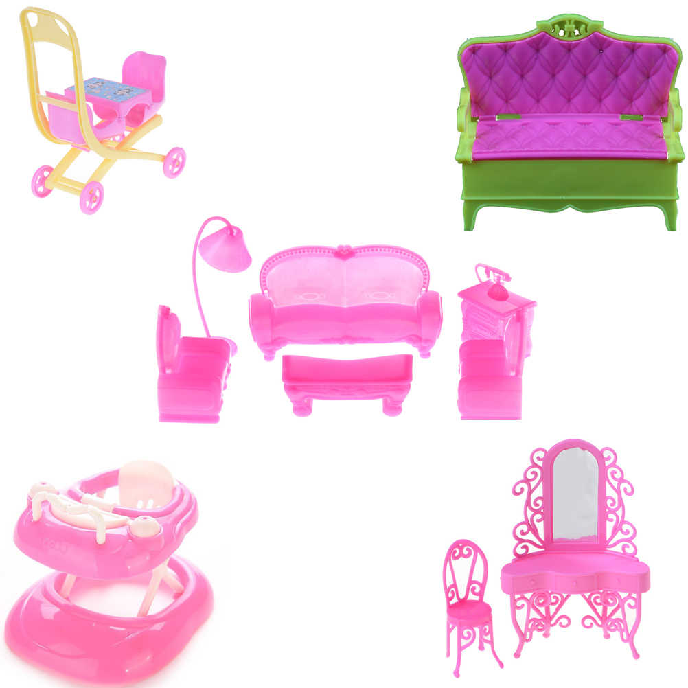 Children Girls Gift Cute Pink Plastic Doll Baby Walker Rocking Chair sofa for   Accessories Doll House Furniture Decoration